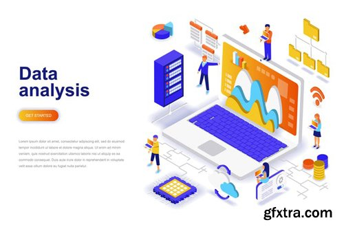 Data Analysis Isometric Concept