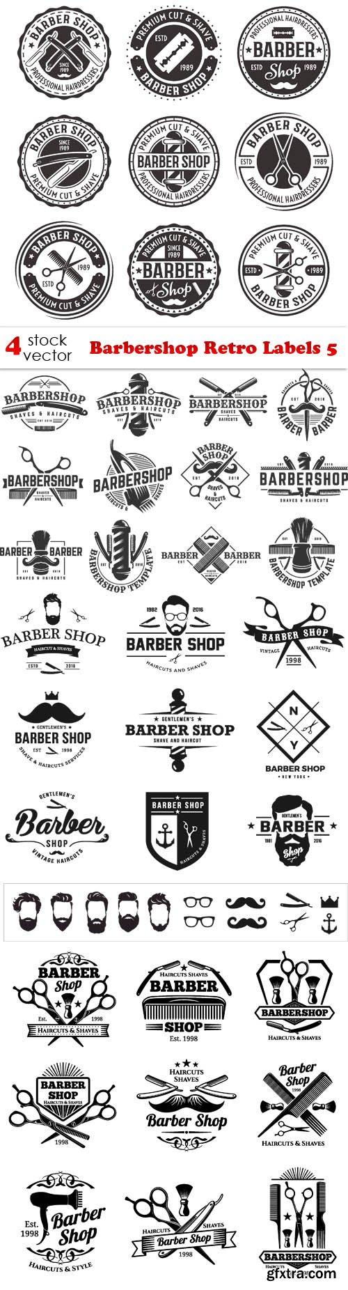 Vectors - Barbershop Retro Labels 5