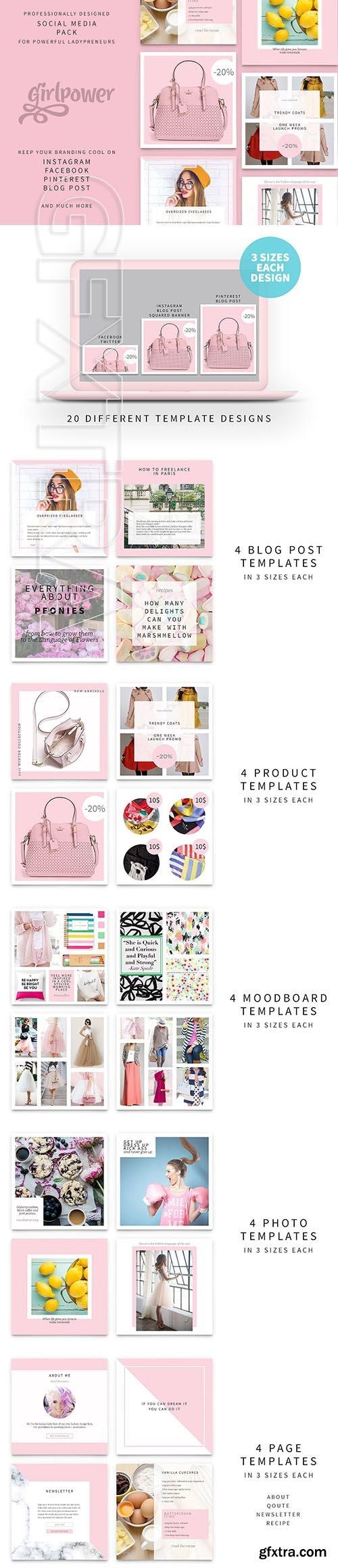 CreativeMarket - Girlpower - Social Media Pack 2737377