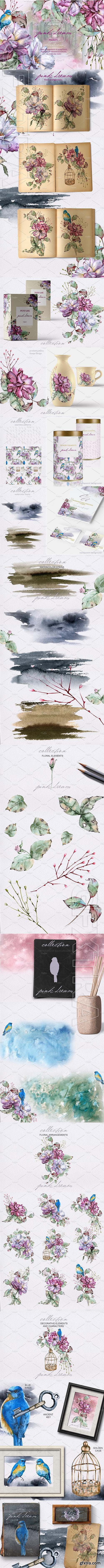 CreativeMarket - Pink dream Watercolor set 2737793