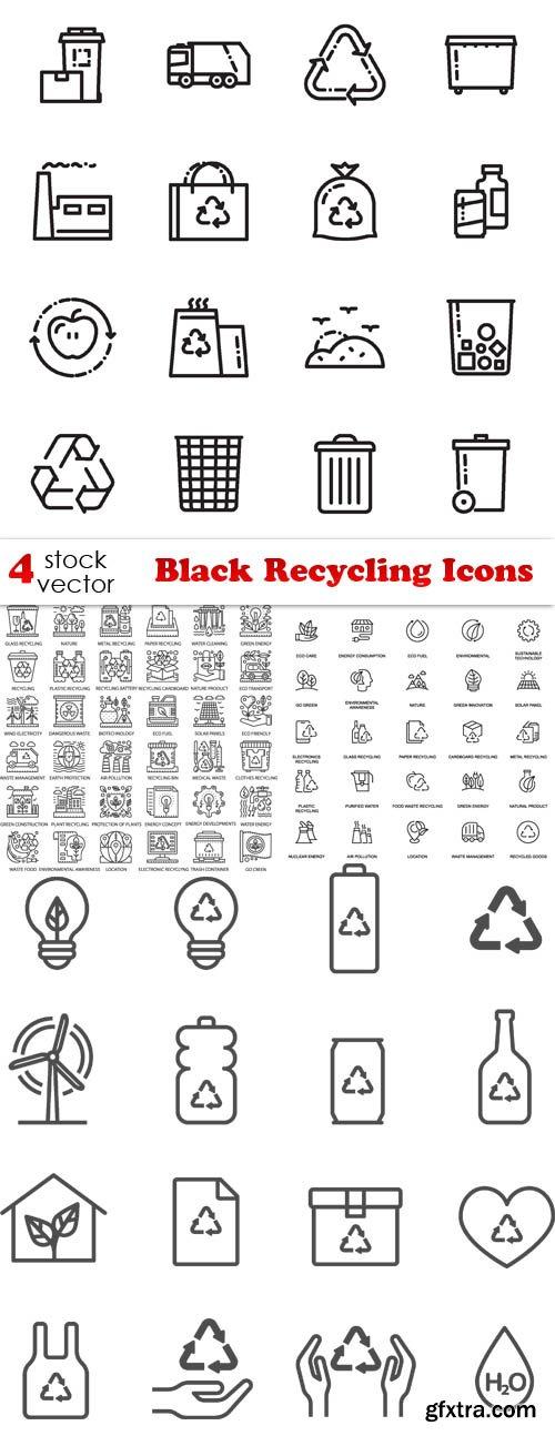 Vectors - Black Recycling Icons