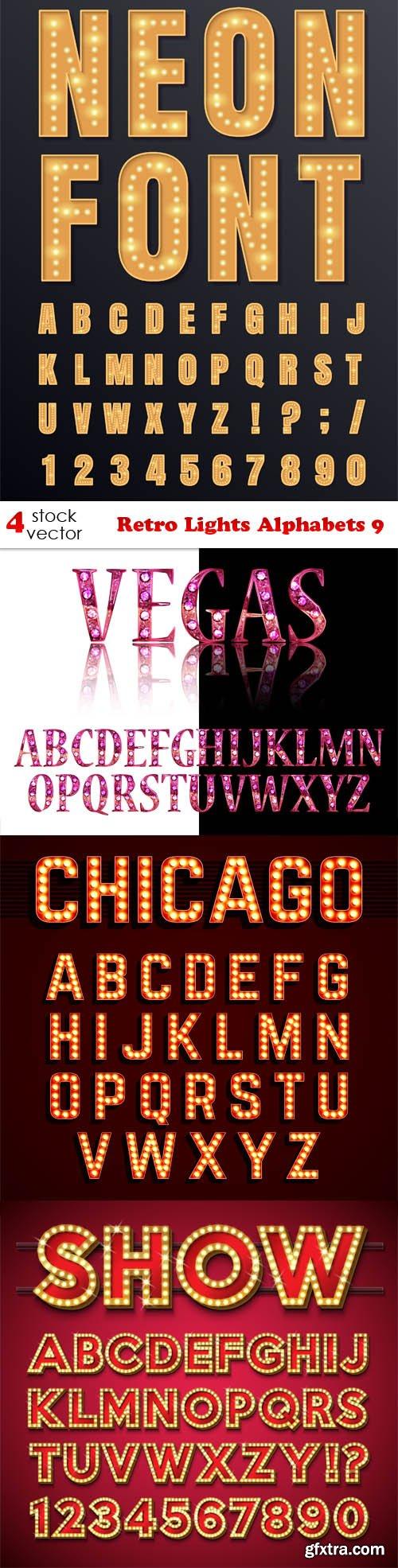 Vectors - Retro Lights Alphabets 9