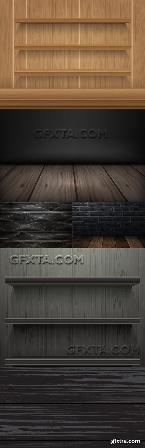 Wooden shelf and brick wall design in dark color