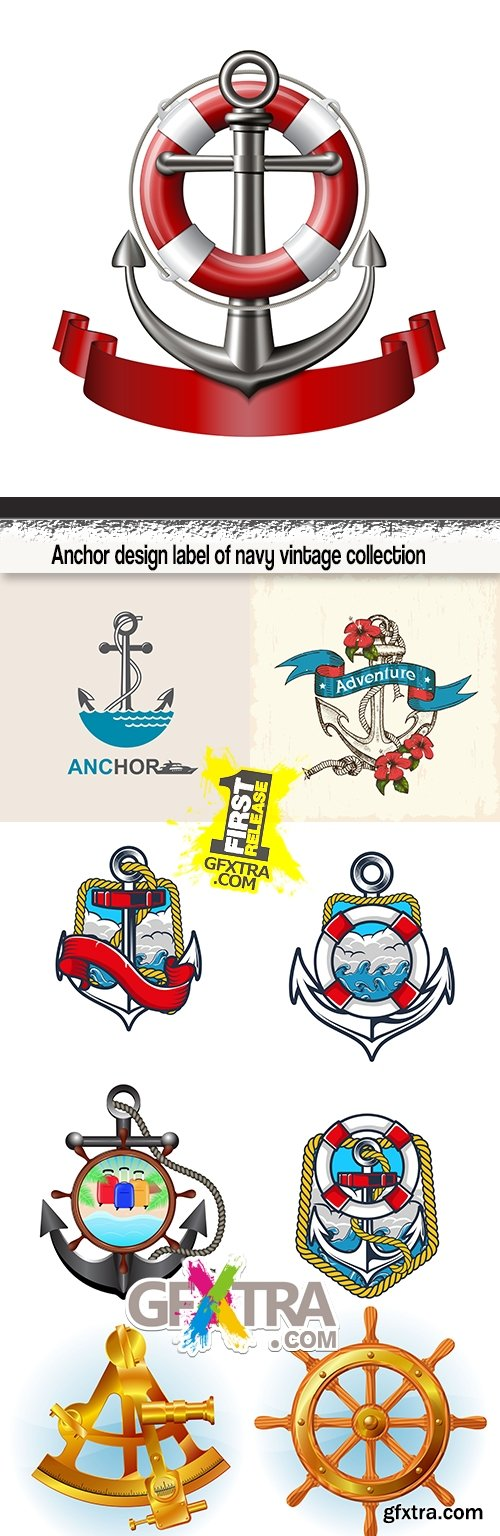 Anchor design label of navy vintage collection