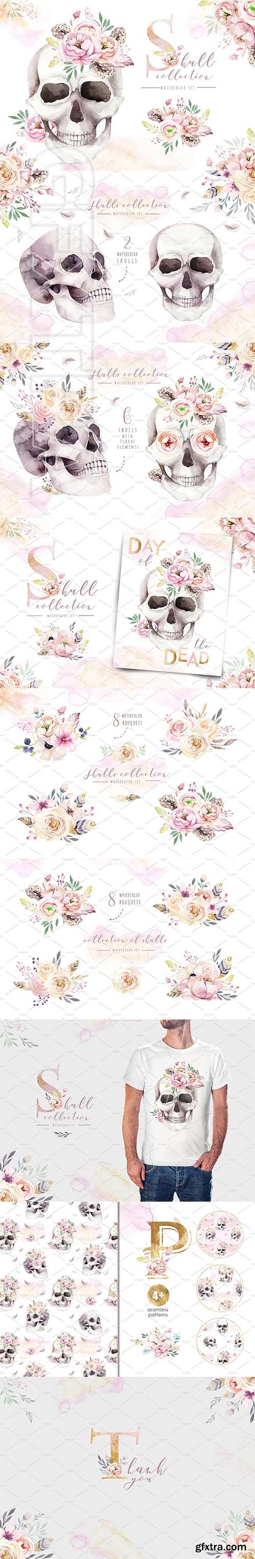 CreativeMarket - Day of The Dead Watercolor set 2739348
