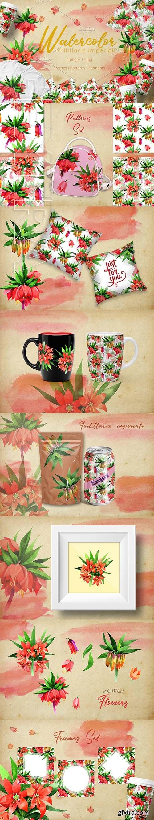 CreativeMarket - Fritillaria imperiali PNG watercolor 2735371