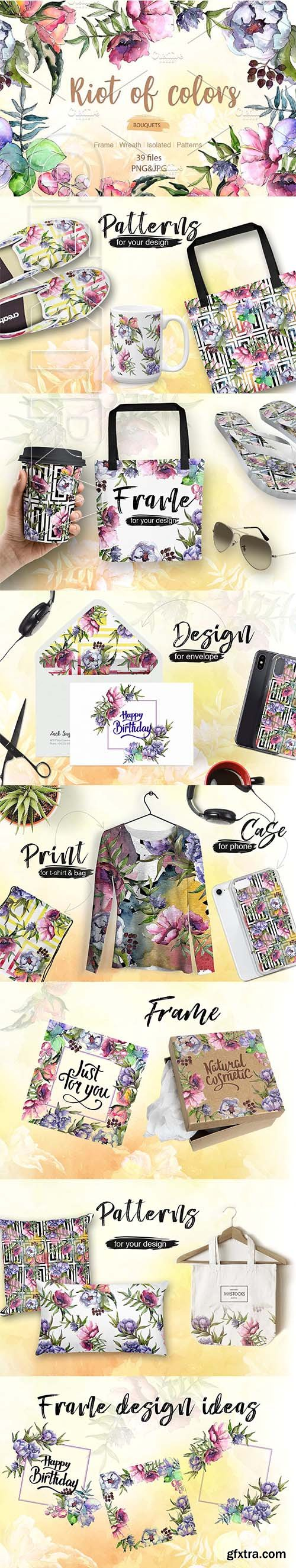 CreativeMarket - Cool bouquets flowers PNG watercolor 2735387