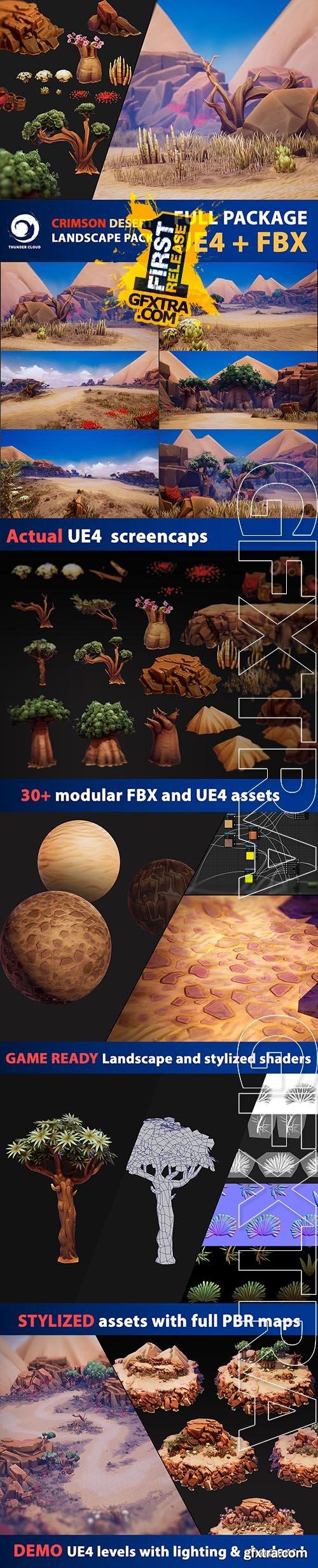 Cubebrush - Crimson Desert Landscape -Full package UE4 and FBX