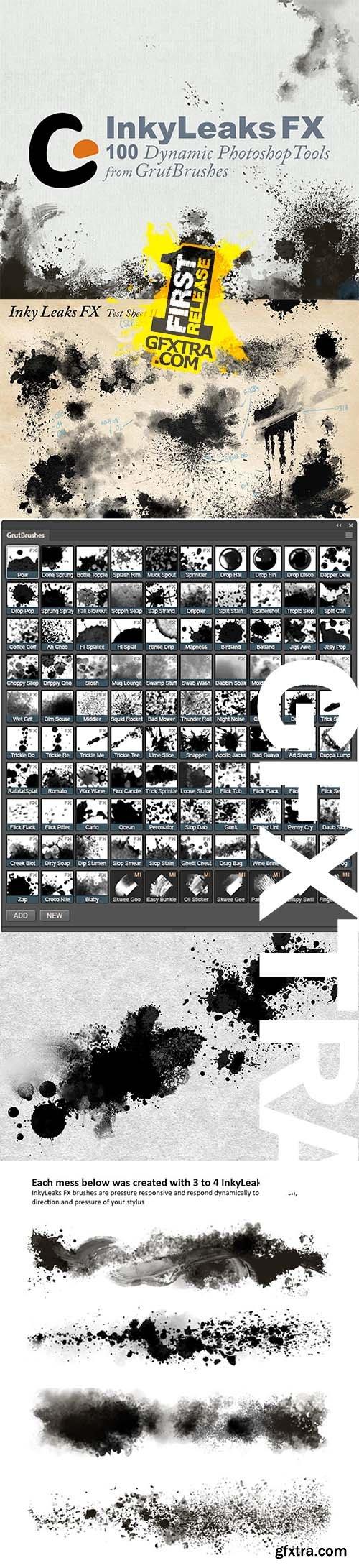 InkyLeaks - 100 Splatter FX Brushes by GrutBrushes