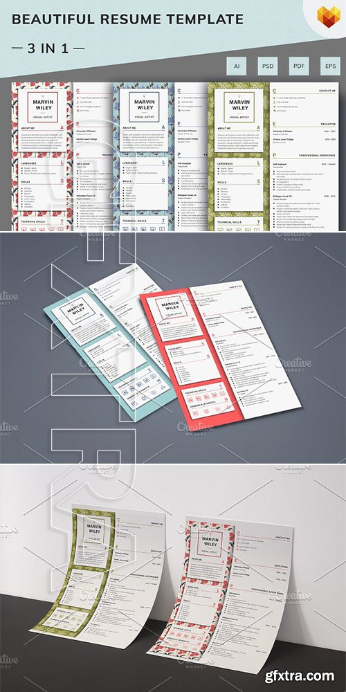 CreativeMarket - Visual Artist Resume Template 2708394