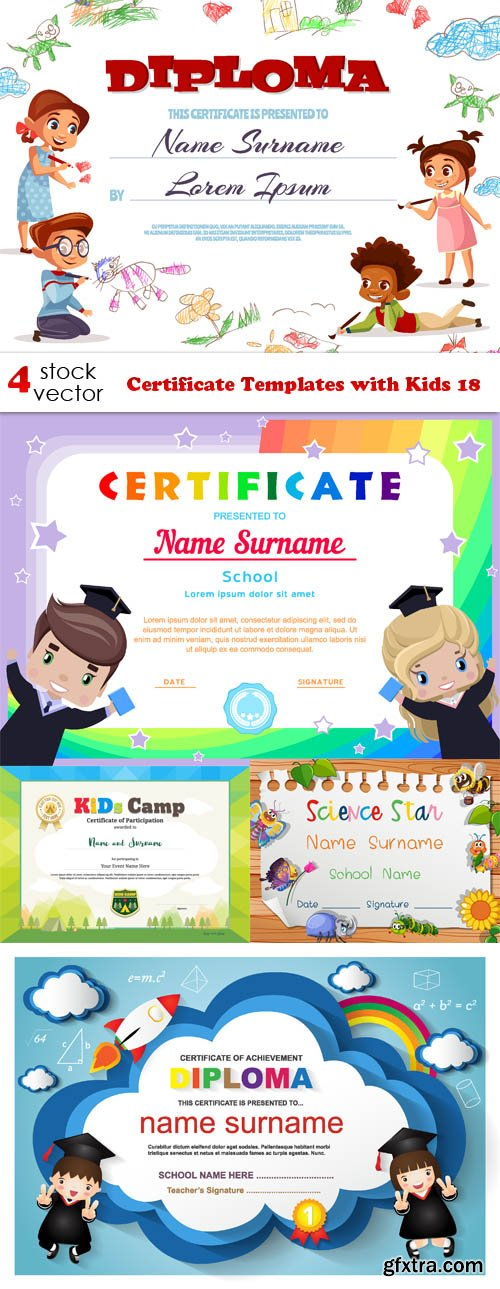 Vectors - Certificate Templates with Kids 18