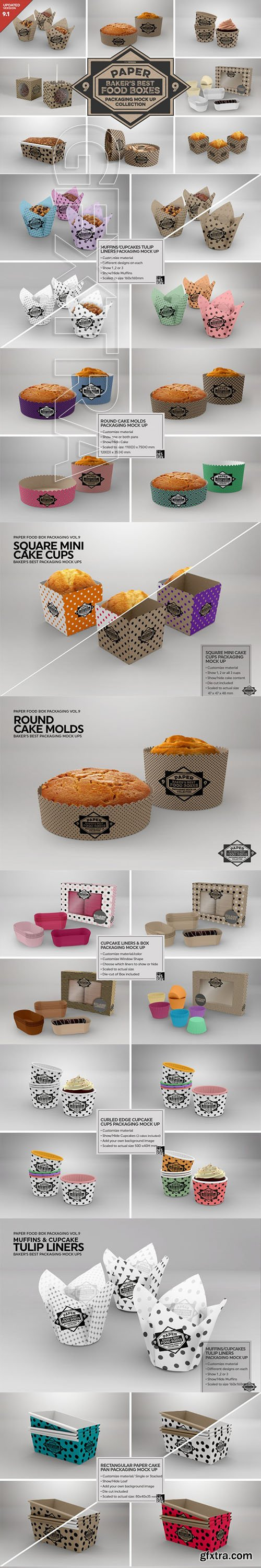 GraphicRiver - VOL 9 Paper Food Box Packaging Mockup Collection
