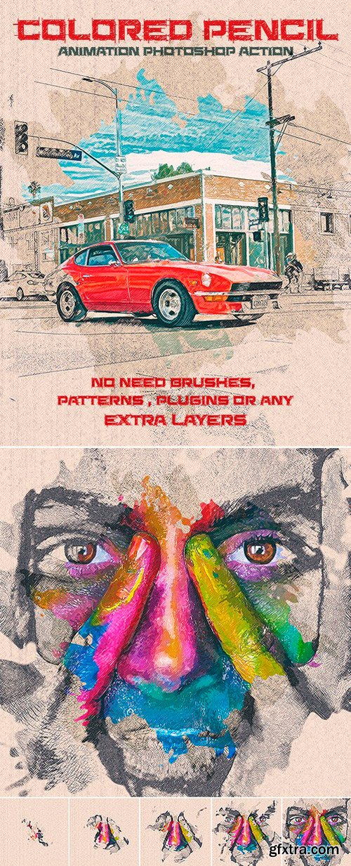 Graphicriver - 22139552 Colored Pencil Animation Photoshop Action
