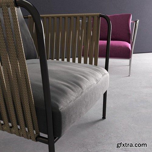 Rattan Armchairs 3d Model
