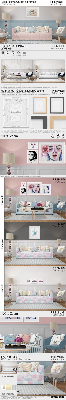 Sofa Pillows Carpet & Frames Set
