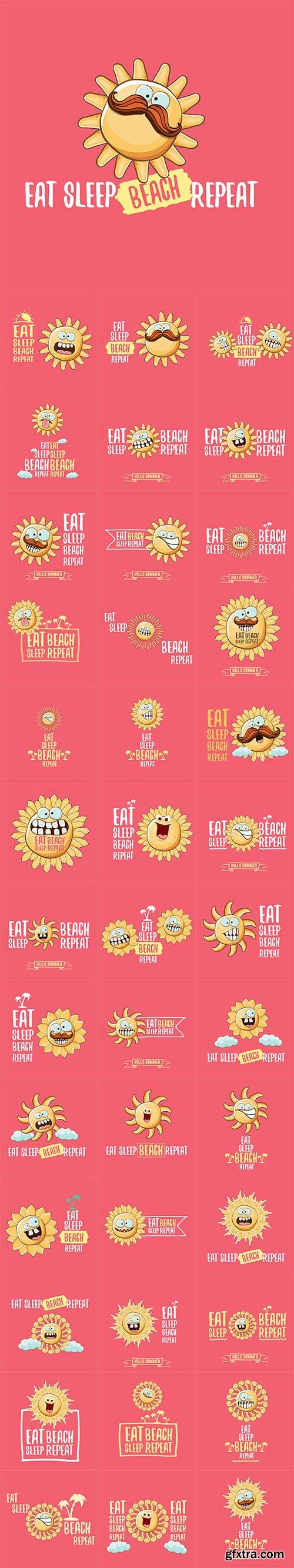 Vector Set - Eat sleep beach repeat concept cartoon illustration or summer poster