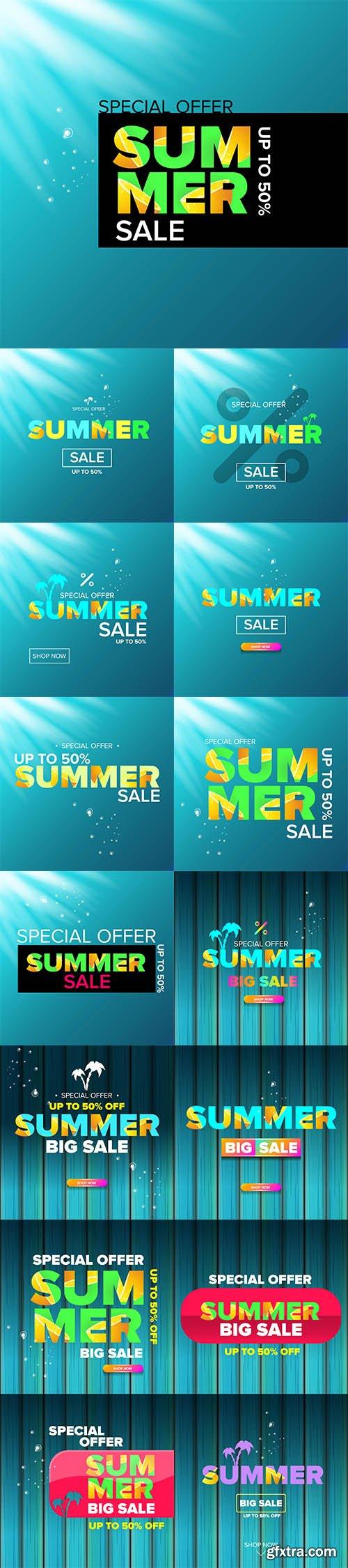 Vecto Set - Summer sale modern color design template web banner or poster