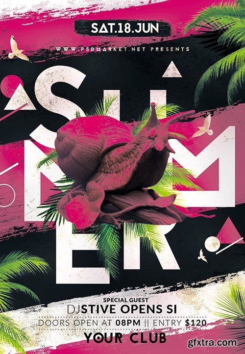 Summer club party flyer – PSD Template