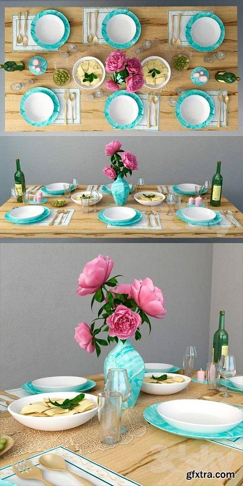 Table setting 2 3d Model