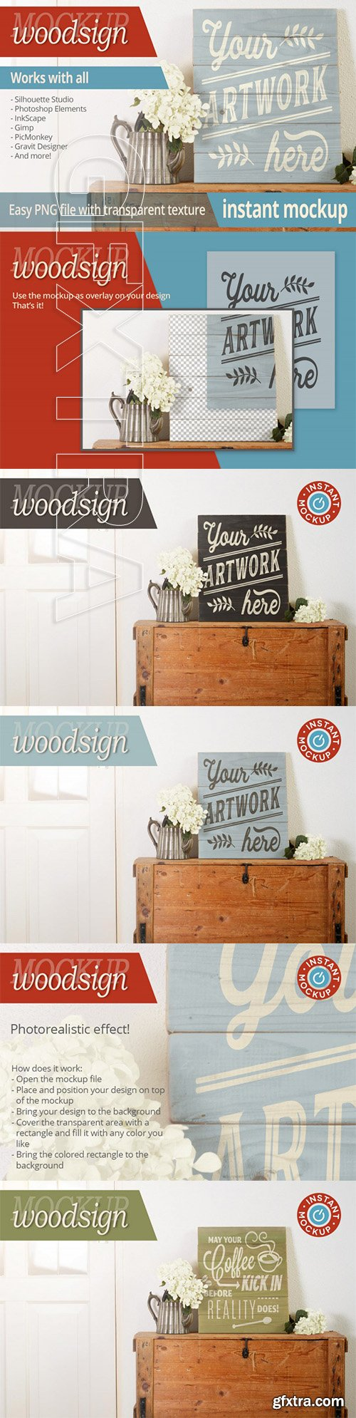Instant png photorealistic woodsign mockup