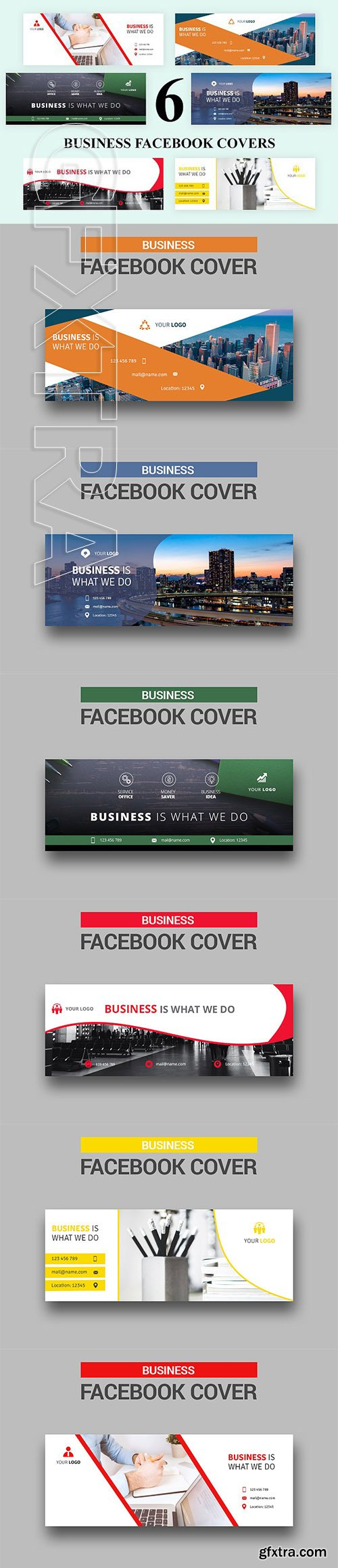 CreativeMarket - 6 Business - Facebook Covers 2735900