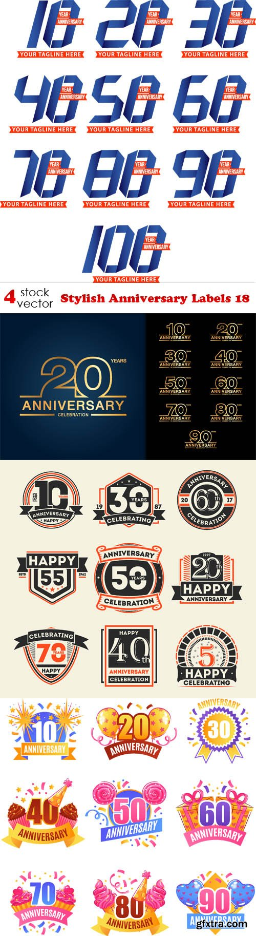 Vectors - Stylish Anniversary Labels 18