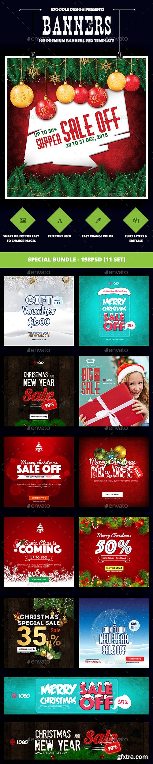 Graphicriver - [Special Bundle] Christmas Banners Ads - 198PSD [11 Set] 19130437