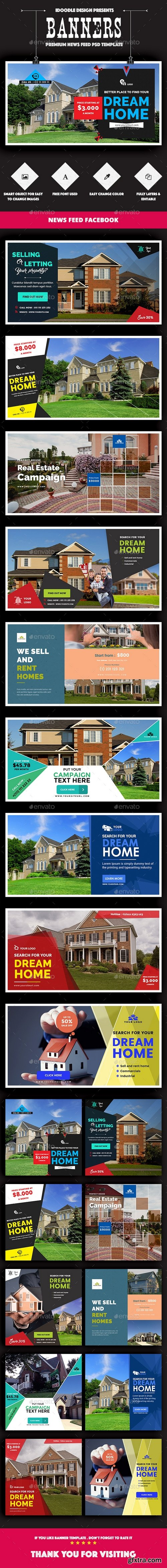 Graphicriver - Facebook Real Estate Banners Ads - 20 PSD [2 Size Each] 16136352