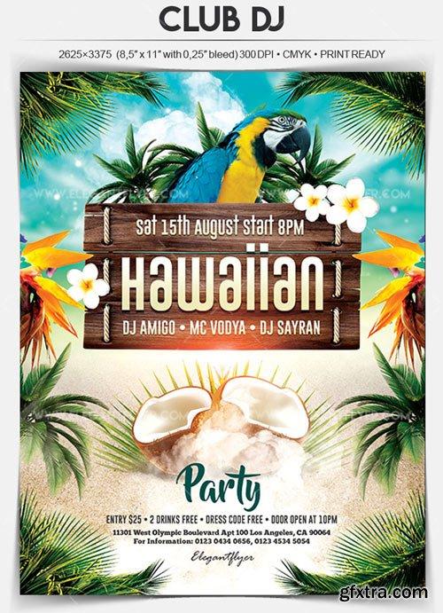 Hawaiian Party V1 2018 Flyer PSD Template
