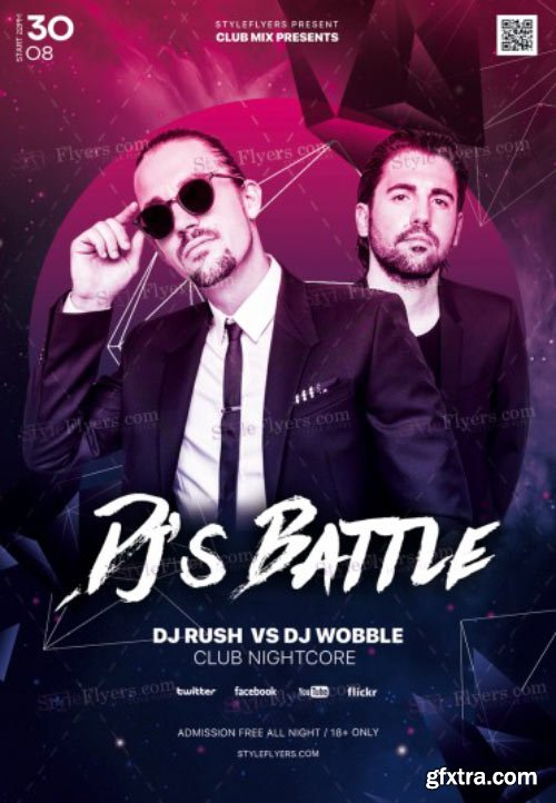 Dj's Battle V8 2018 PSD Flyer Template