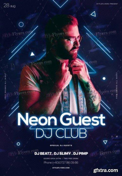 Neon Guest DJ Club V21 2018 PSD Flyer Template
