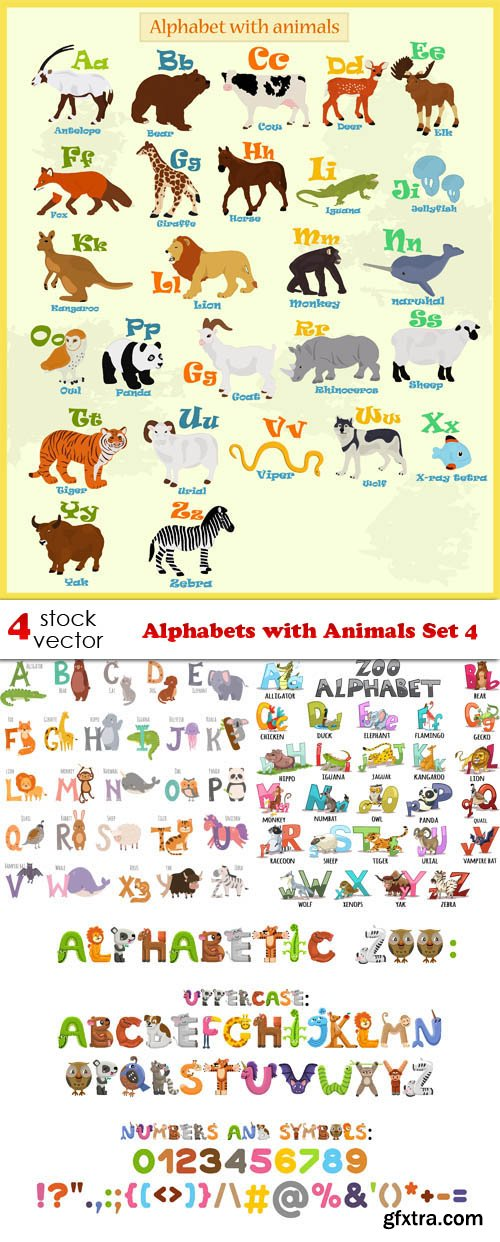 Vectors - Alphabets with Animals Set 4