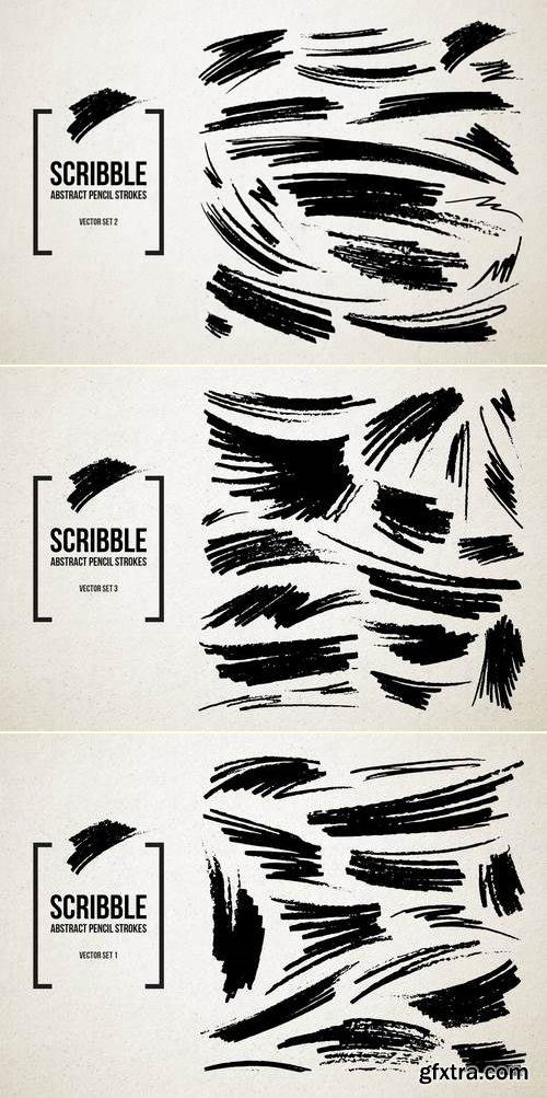 Real Pencil Scribbles Vector Set Bundle