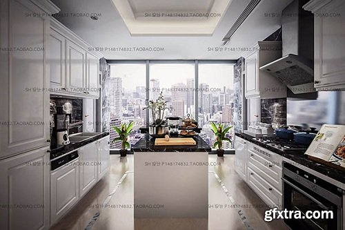Modern kitchen 02 3d Model