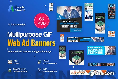 Animated GIF Multipurpose Banner Ad - 66 PSD