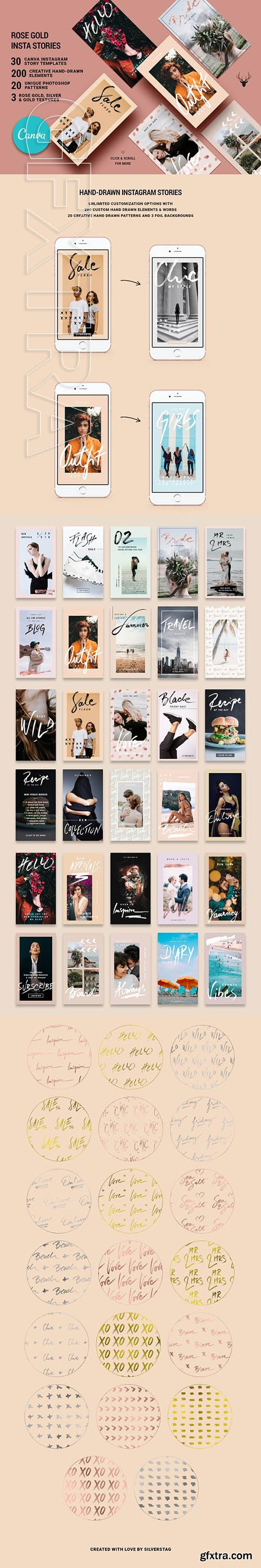 CANVA Rose Gold Instagram Stories