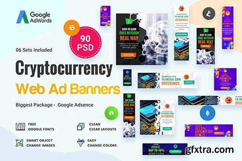 Cryptocurrency Banners Ad - 90 PSD