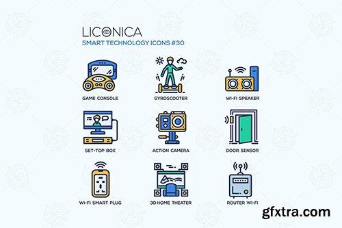 Smart Technology - flat line design style icon set