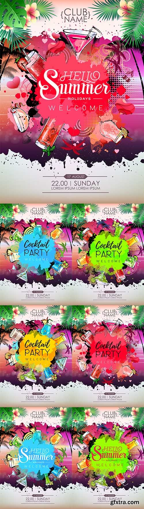 Vector Set -  Summer Cocktail party posters design. Cocktail menu