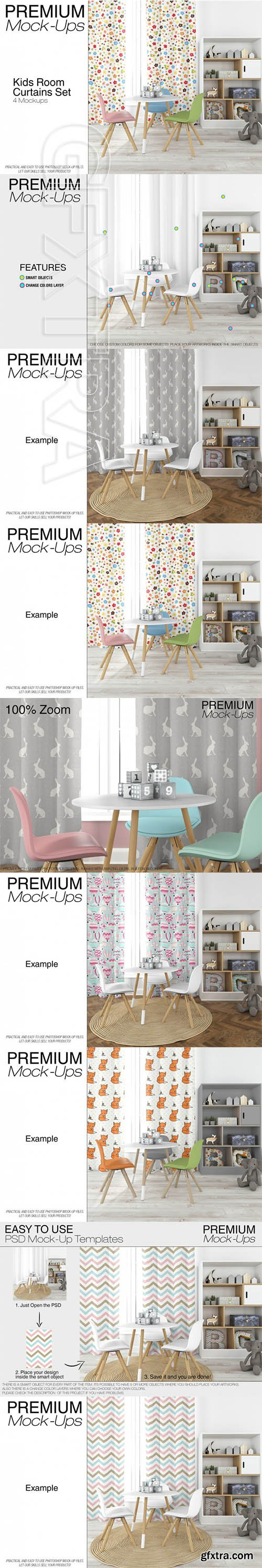 Curtains in Nursery Mockup Set