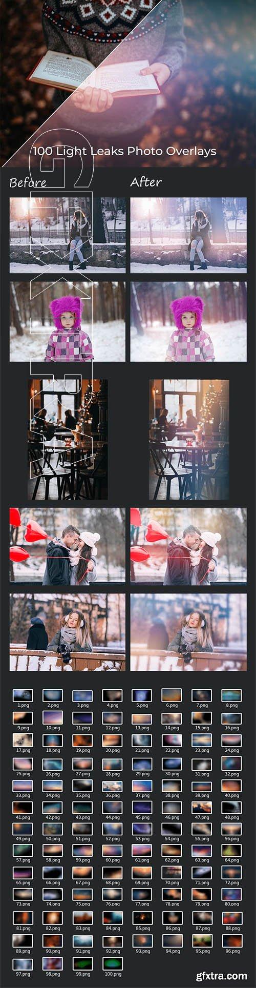 100 Light Leaks Photo Overlays