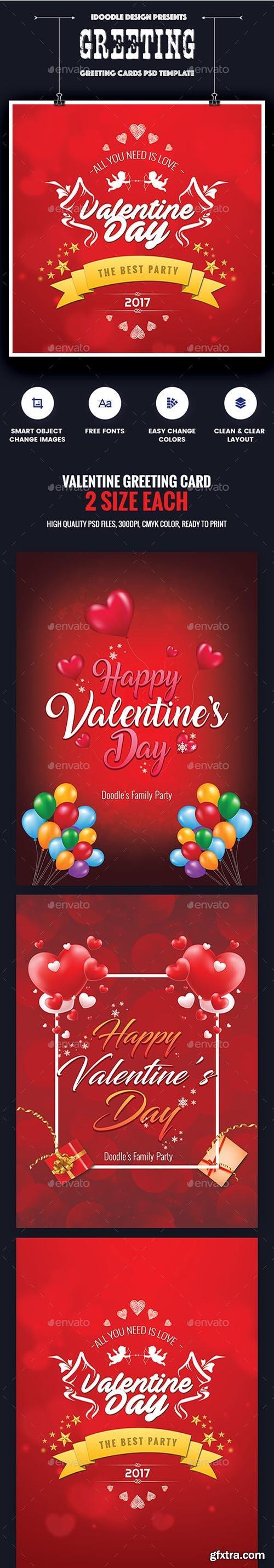 Valentine Greeting Card - 06 PSD [02 Size Each - 7x5 & 5x7] 19261223