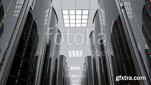 3d animation of a slowly movement through the server room between server racks in world wide cloud dataceneter