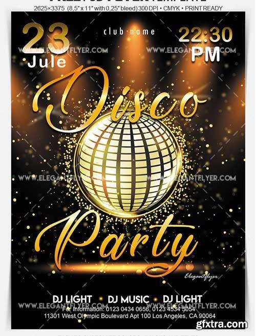 Disco Gold Party V1 2018 Flyer PSD Template