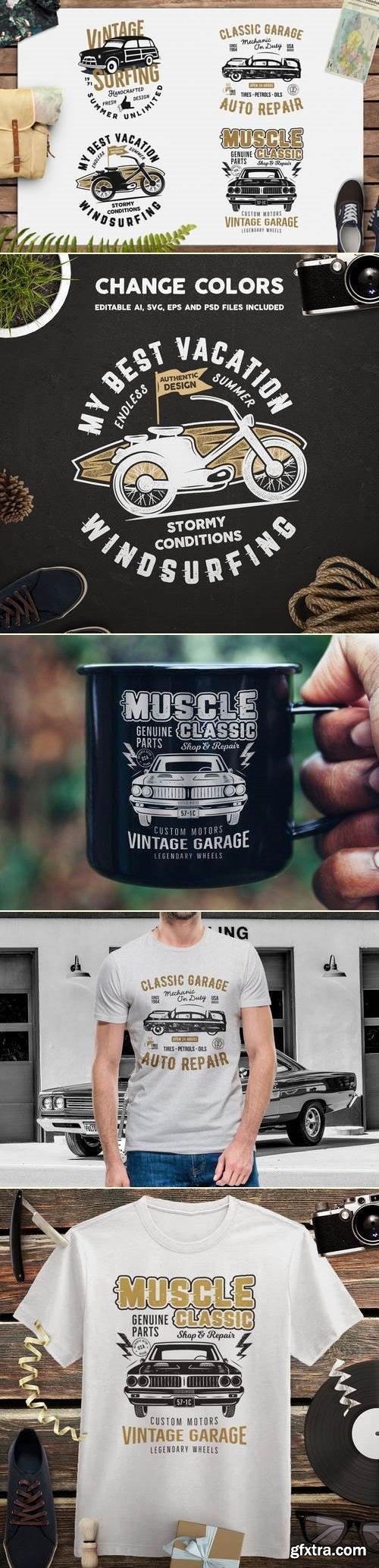 Summer Surf T-Shirt and Classic Garage Emblems