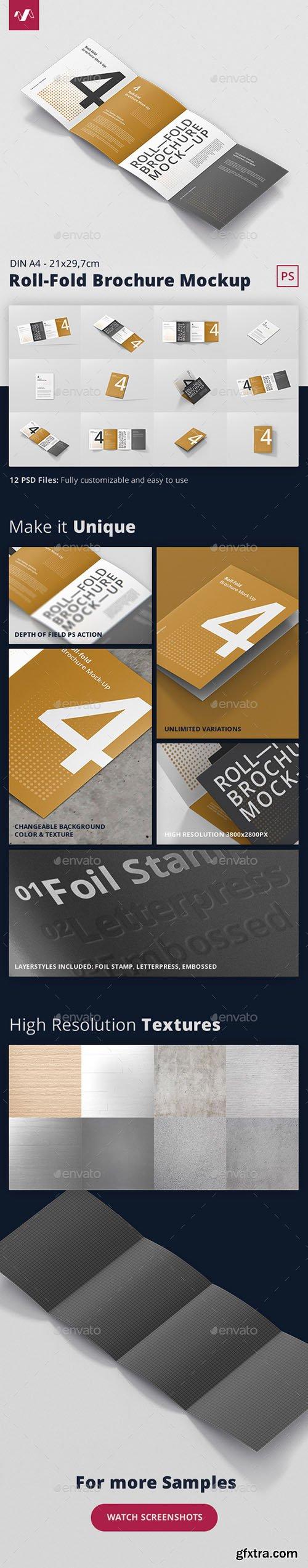 Roll-Fold Brochure Mockup - Din A4 A5 A6 22260474