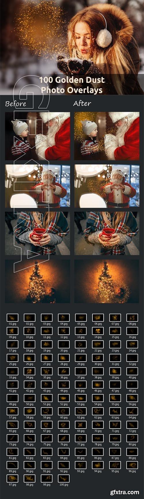 100 Golden Dust Photo Overlays
