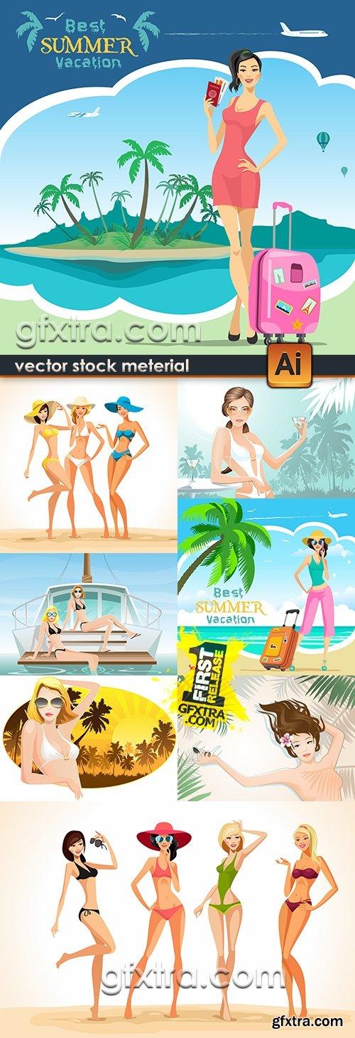 Girls in bikini on solar summer beach and rest