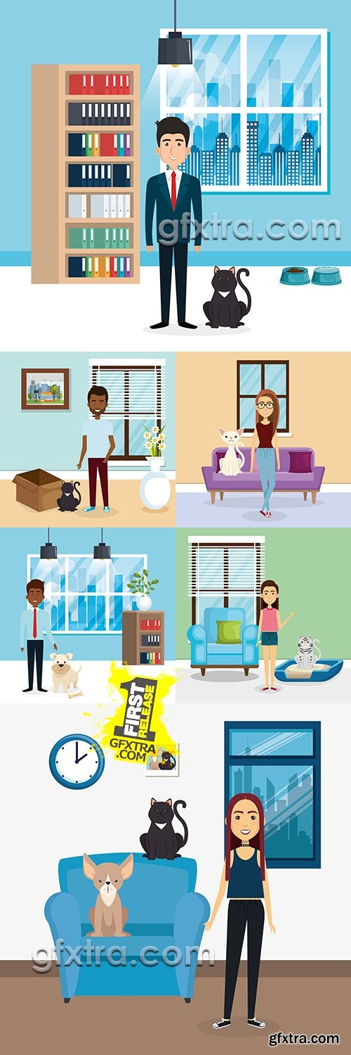 People and pets in room interior vector illustrations