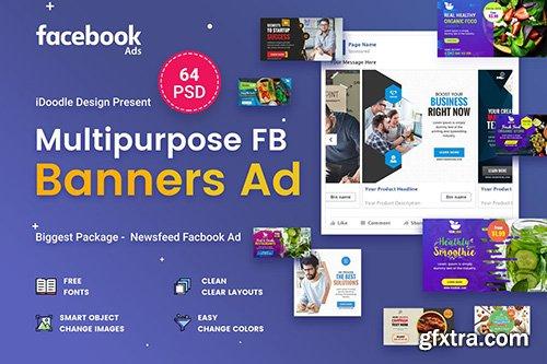 Multipurpose Facebook Banner Ads - 64 PSD